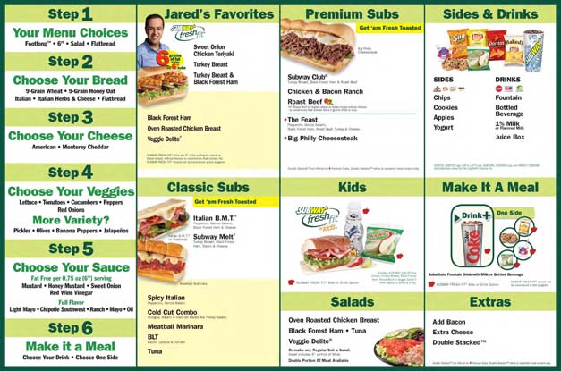 graphic about Subway Menu Printable known as Subway - iGEEKFOOD